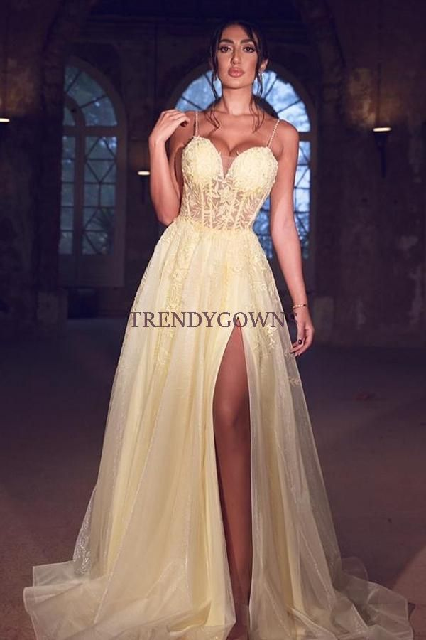 Sexy Tulle Spaghetti Straps Yellow Prom Dress Lace Long With Split QL00254