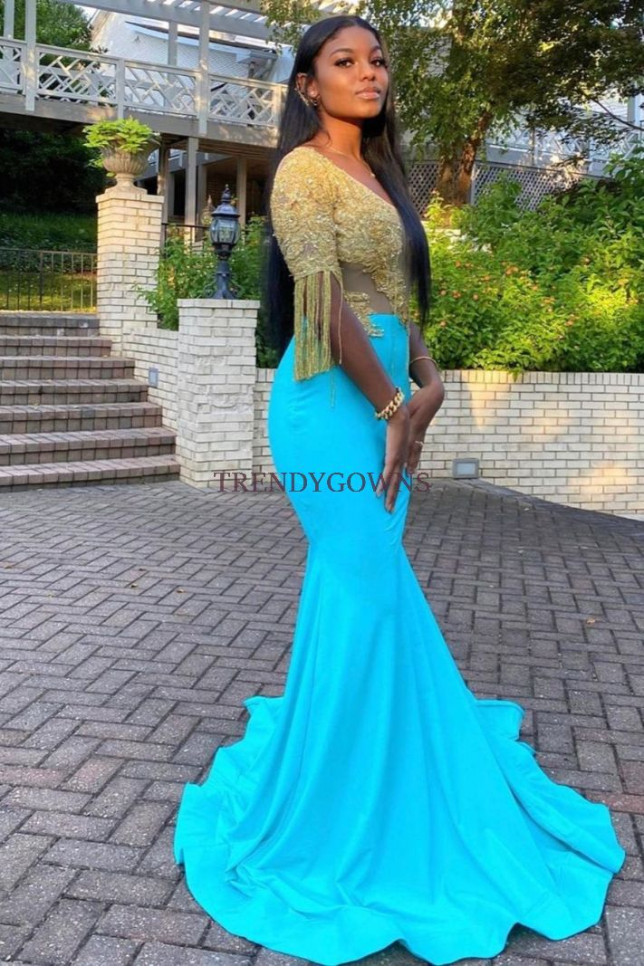 Blue And Gold Mermaid Prom Dress One Shoulder Short Sleeves Sequins Long QL00664