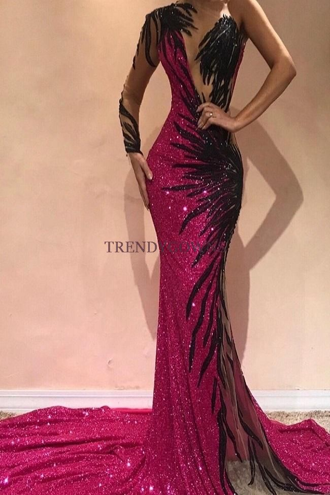 Mermaid Transparent Round Collar Chapel One-shoulder Long Sleeve Backless Paillette Prom Dress QQ00054