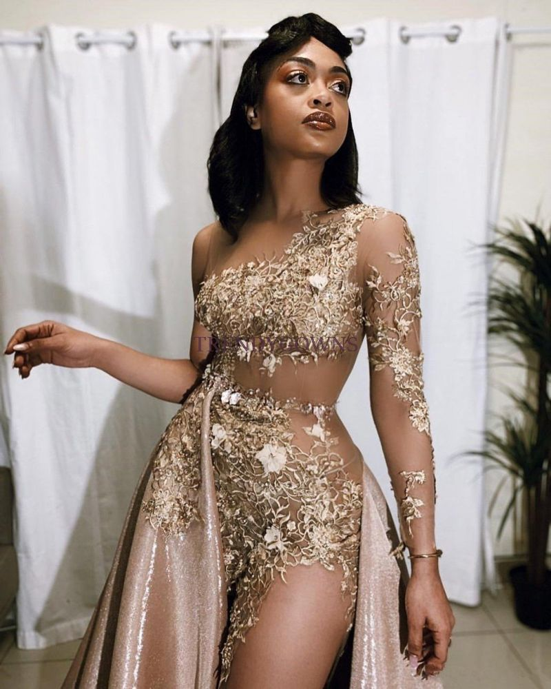 Sexy Gold Two-piece Prom Dress Sequins Long Sleeve On One Side QW00174