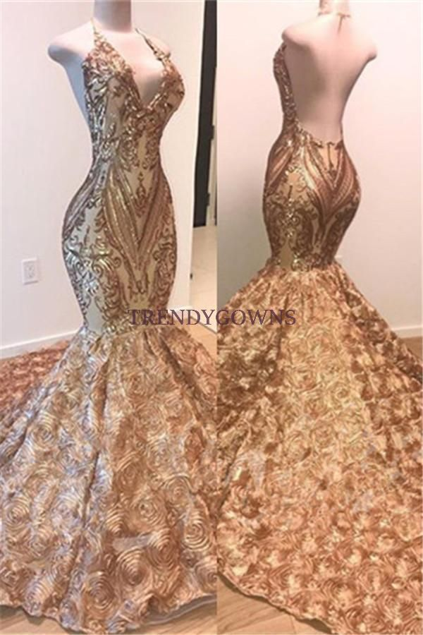 Sexy V-Neck Halter Gold Mermaid Prom Dress Sequins Backless Long QW00224