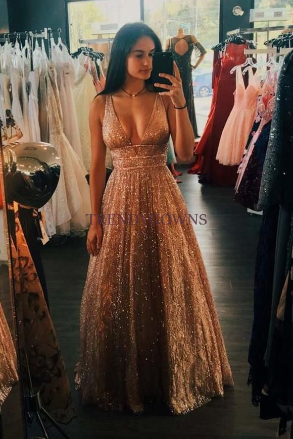 Sexy Wide Straps V-neck Gold Prom Dress Sequins Long QW00274