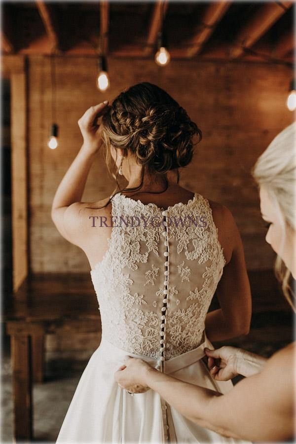 Illusion And Lace Halter Neck A-line Wedding Dress With Sweep Train TWA5402