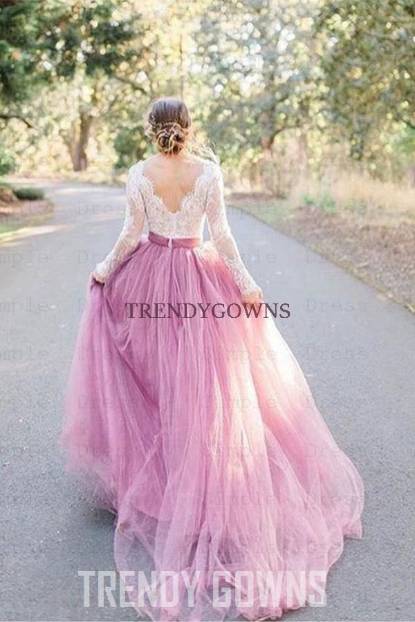 A-Line V-Neck Long Sleeves Pink Tulle Wedding Dress with Lace Appliques TWA5452