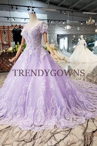 Ball Gown Lilac Short Sleeves Bride Dress Wedding Dress with Lace